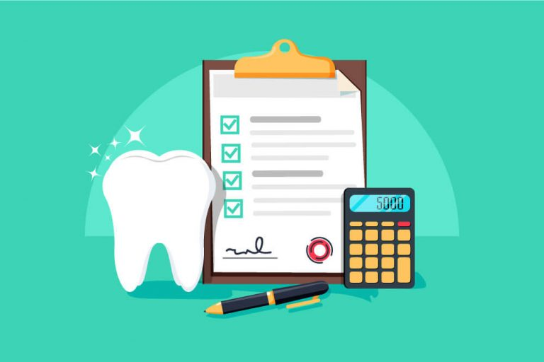 Illustration of a tooth next to dental savings plan paperwork and a calculator